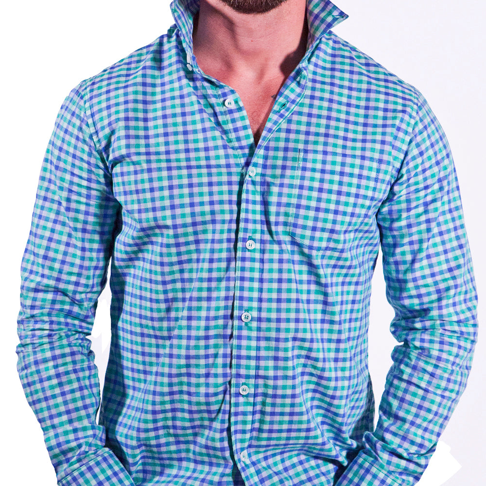 Green & Blue Open Check Shirt - Edmond Sizes L & XXL Available