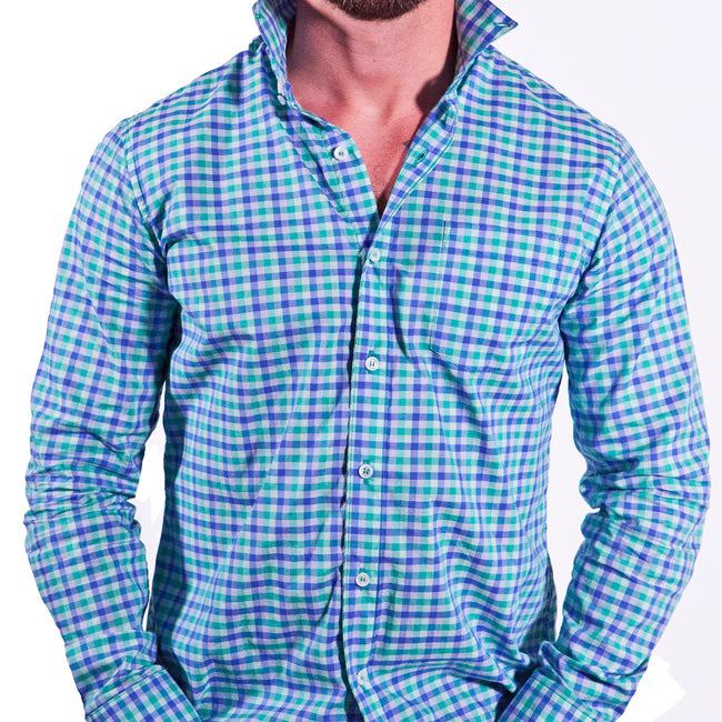 Green & Blue Open Check Shirt - Edmond