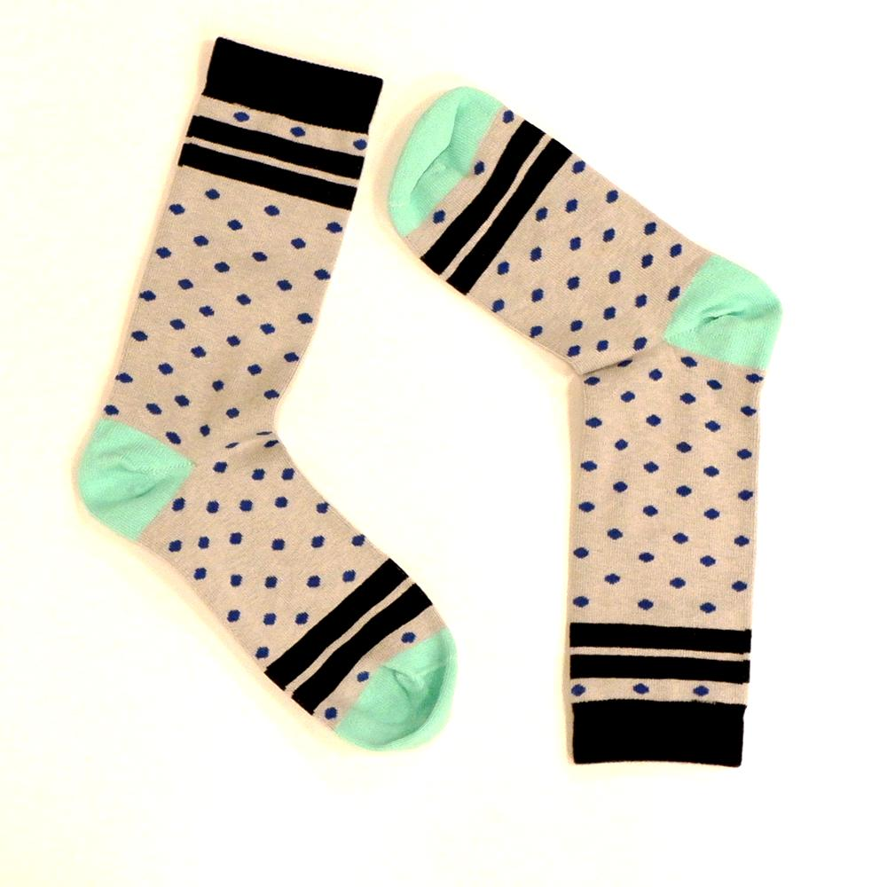 Light Grey & Royal Blue Polka Dot Socks