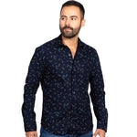 Navy Blue Dragonfly Print Shirt - 'Steele' Sizes S, M & L Available