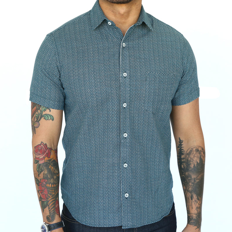 Teal Green Spiky Diamond Mosaic Print Short Sleeve Shirt - Spike Sizes M & L Available