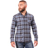 Charcoal Grey & Blue Brushed Cotton Plaid Shirt - 'Rudy'  Sizes S & XXL Available