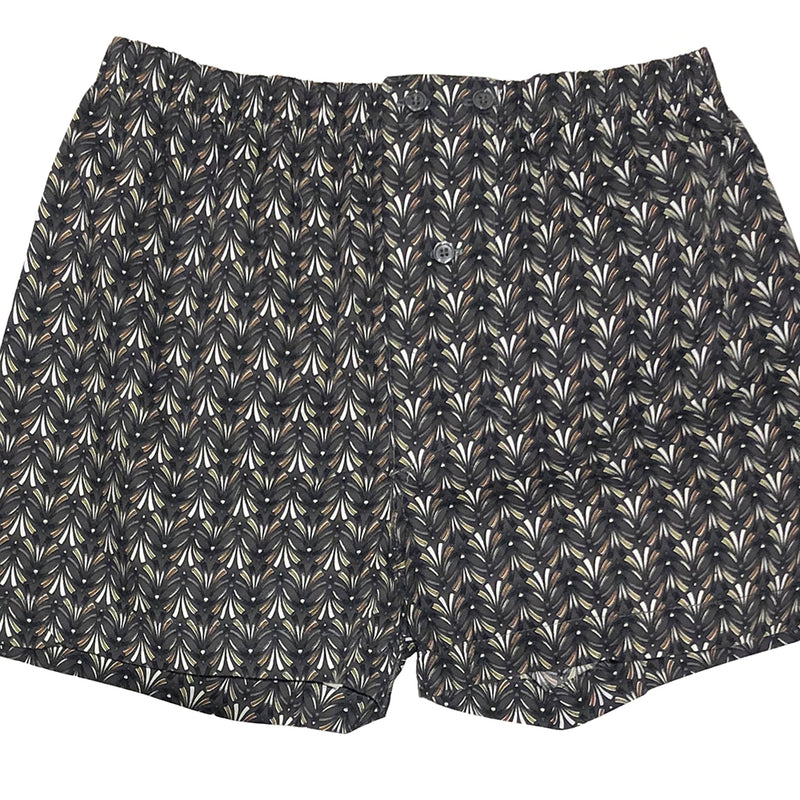 Grey & White Feather Print Boxer Short - Perry
