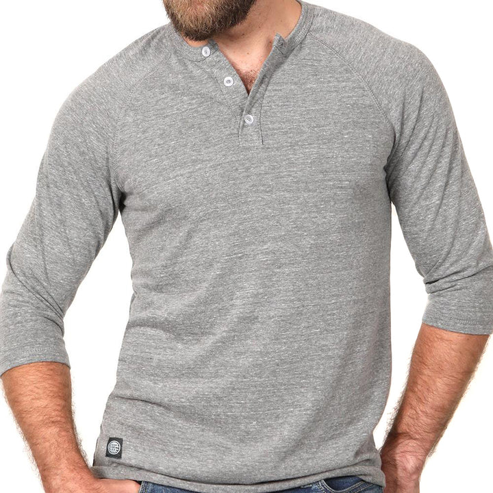 Light Grey Marled 3/4 Raglan Sleeve Henley