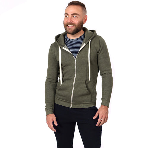 Olive Green Heather Full Zip Hooded Fleece Sweatshirt - Made in USA