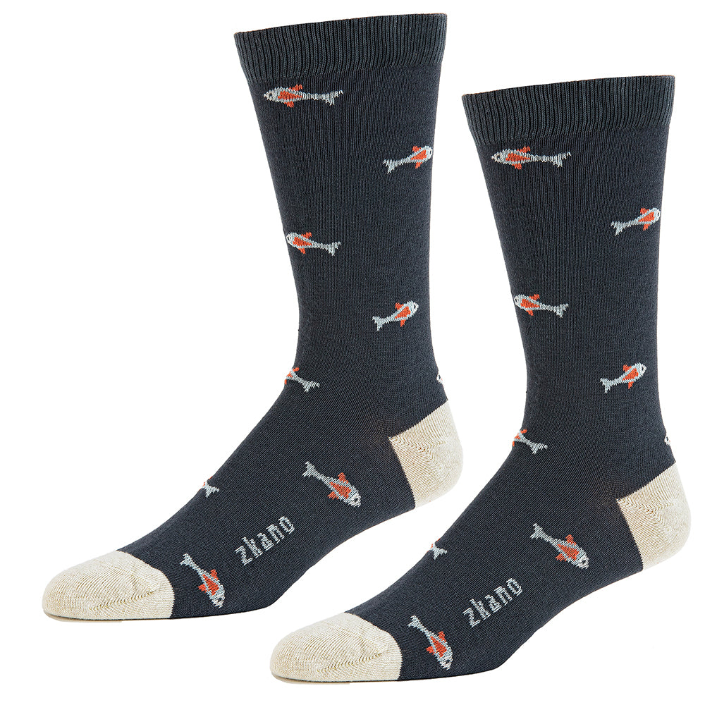 Asphalt Grey Fish Pattern Socks