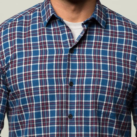 Blue, Red, White Plaid Brushed Cotton Shirt - Troy