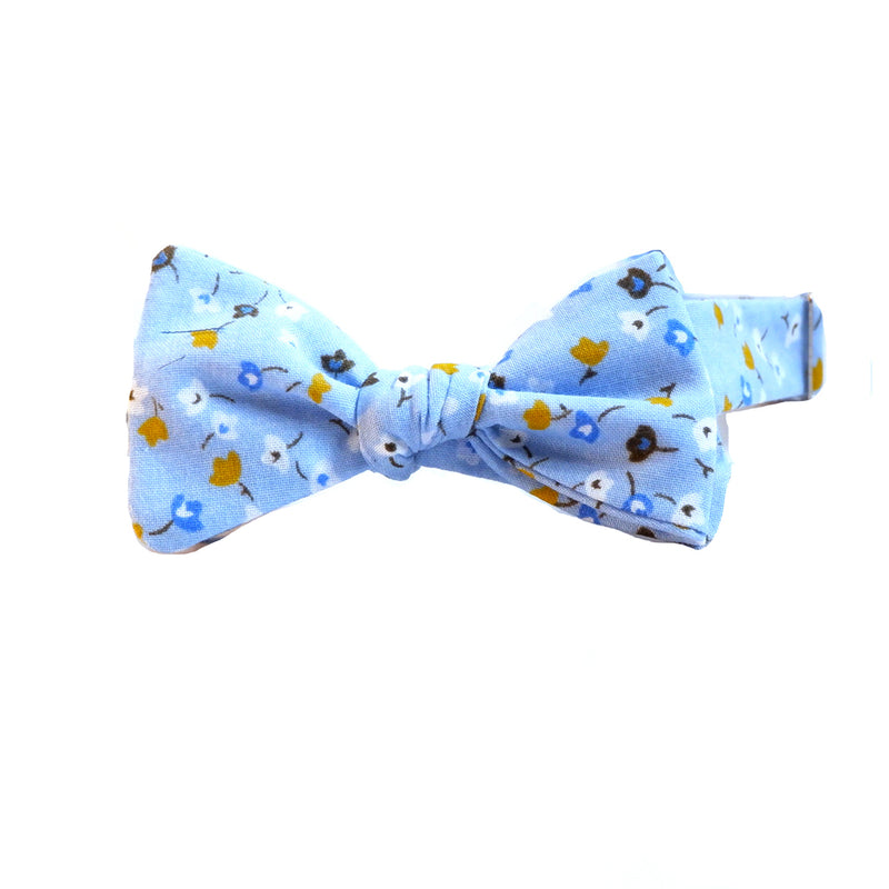 Blue with Gold Ditsy Floral Print Bow Tie