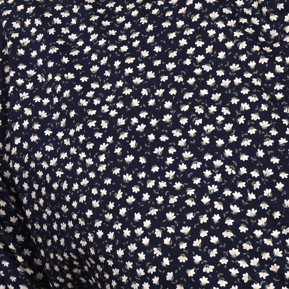 Navy Blue & White Mini Floral Print Short Sleeve Shirt - Crenshaw