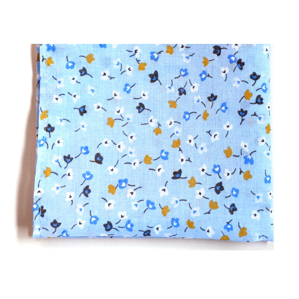 Light Blue & Gold Ditsy Floral Cotton Pocket Square