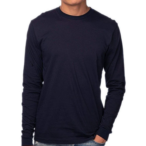 Organic Cotton Navy Blue Long Sleeve Tee - Made in USA