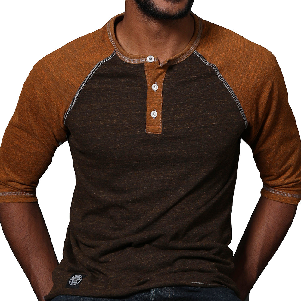 Camel & Chocolate Contrast 3/4 Raglan Sleeve Henley Sizes S & XL Available