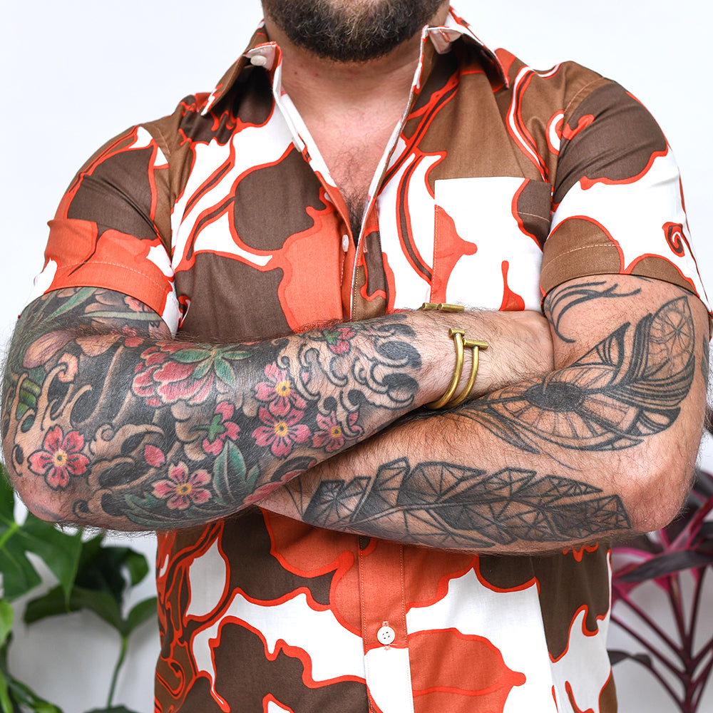 Red Tropical Floral  Print Shirt - Gilbert