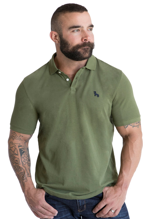 Olive Green Cotton Pique Polo