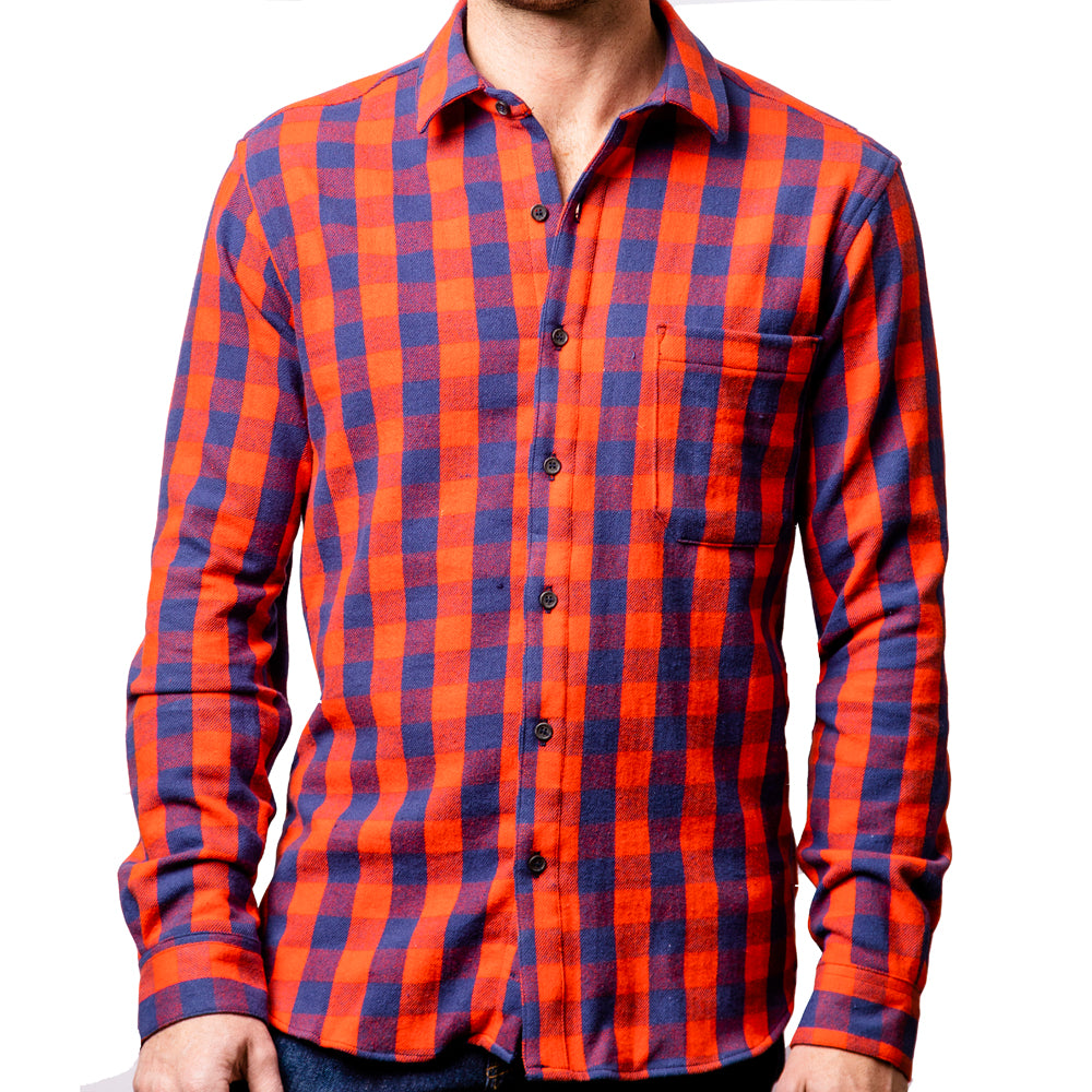 Red & Navy Blue Mini Buffalo Check Flannel Shirt - Harlan