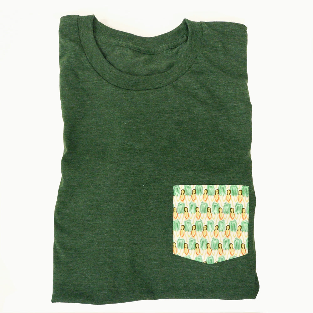 Green Hula Girl Print Pocket Tee