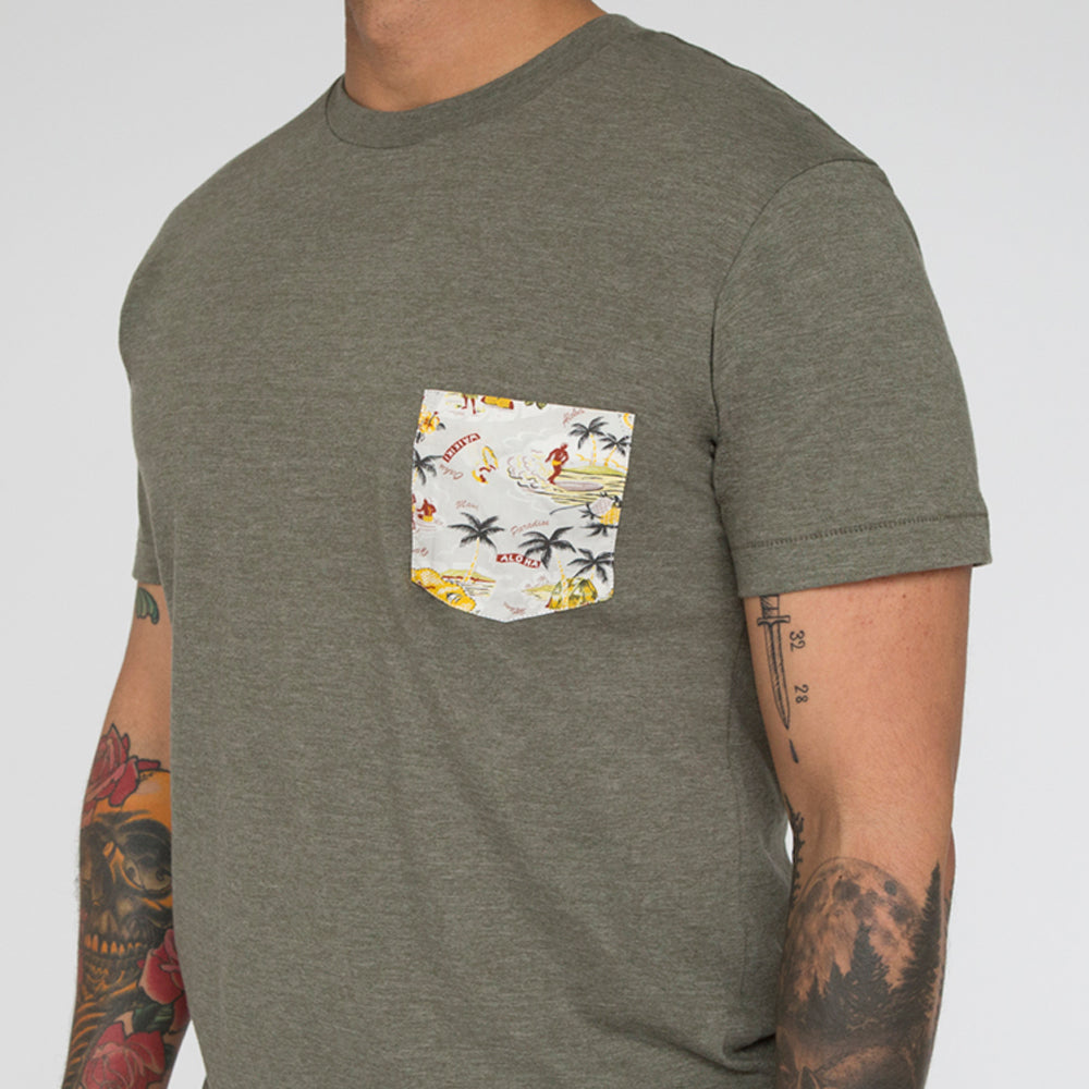 Olive Hawaii Print Pocket Tee
