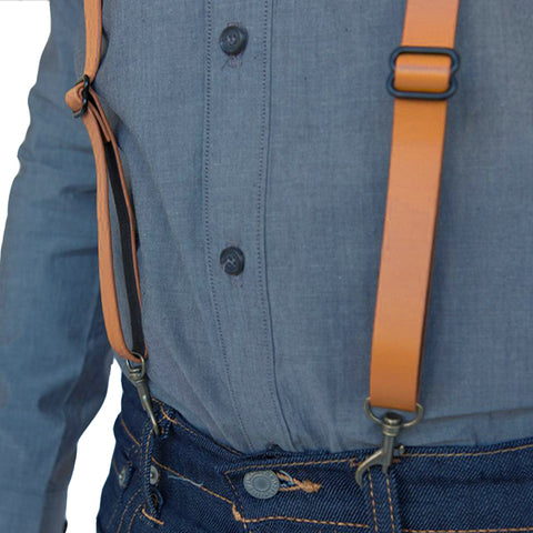 Natural Tan Leather Buckle Skinny Suspenders