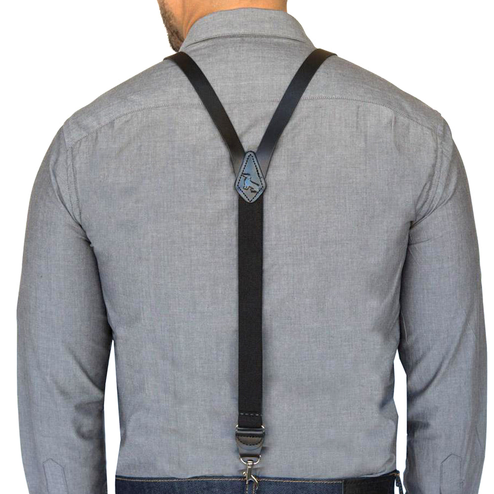 Black Leather Suspenders For Men