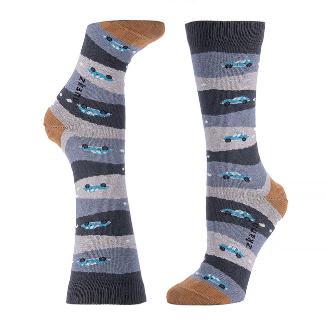 Grey Stripe With Aqua Hot Rod Car Pattern Socks