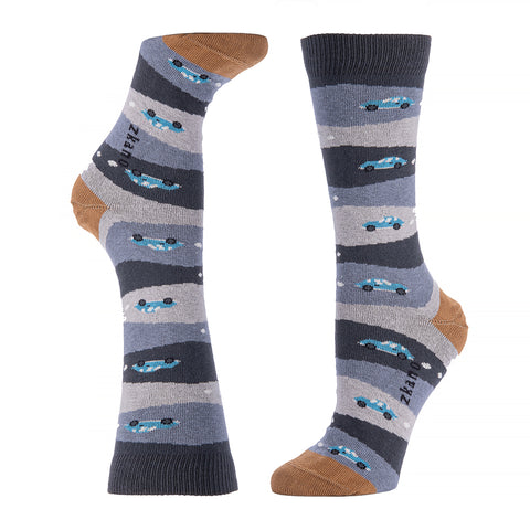 Tonal Blue & Yellow Diagonal Stripe Socks