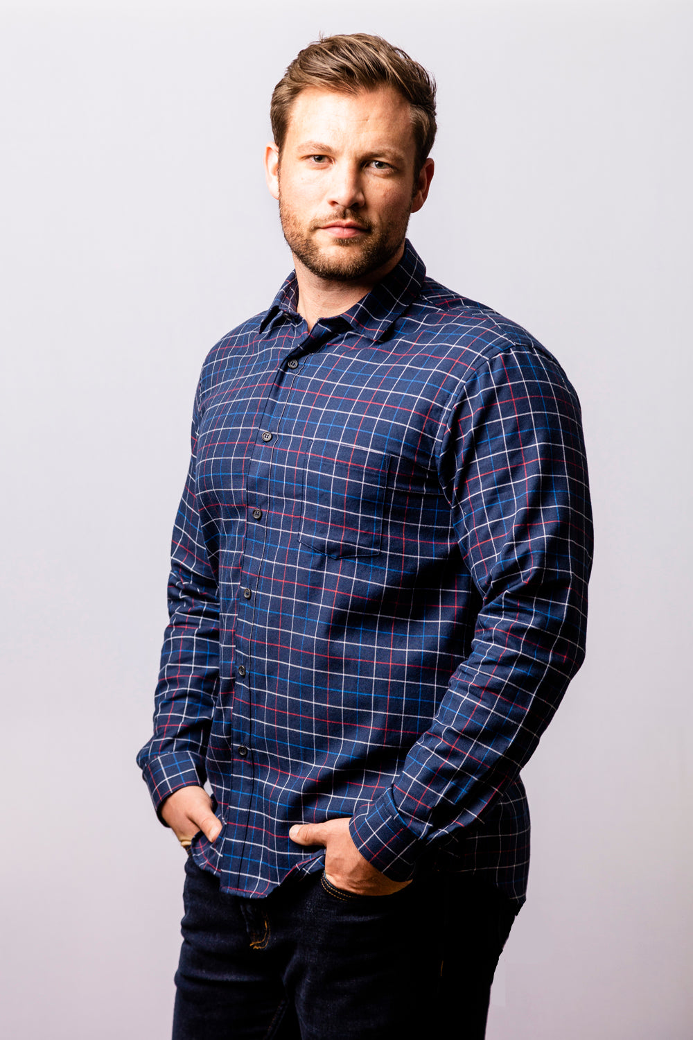 Navy Blue Windowpane Brushed Cotton Shirt - Jason  Size XL Available