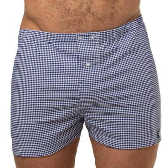 Royal Blue & White Mini Gingham Boxer Short - Johnny