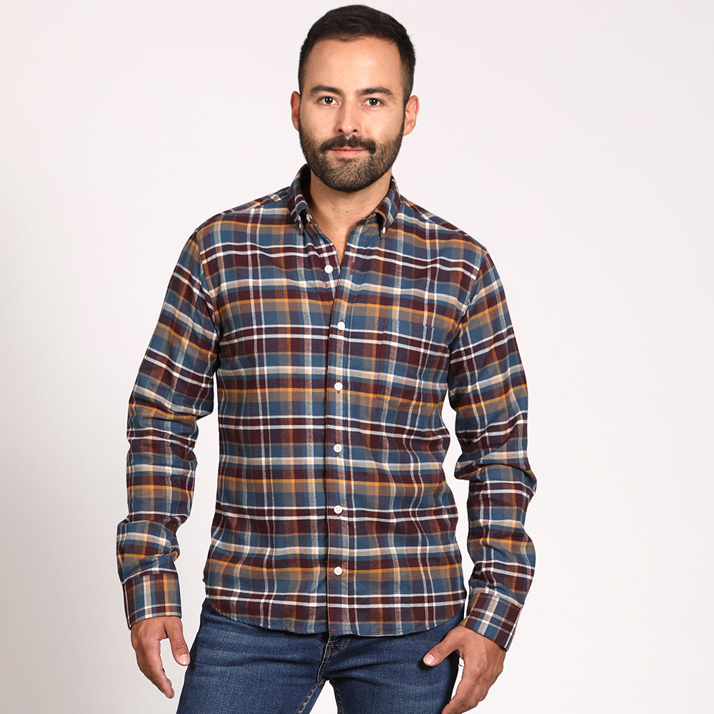 Blue, Burgundy & Camel Plaid Brushed Flannel - 'Jonah' Sizes M, XL & XXL Available