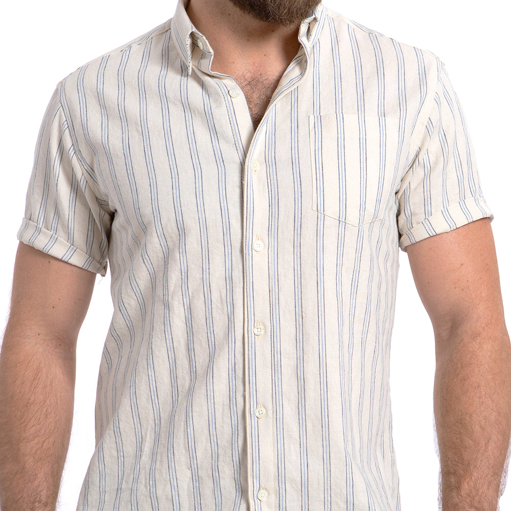 Cream, Blue & Grey Stripe Shirt - Kent Sizes L & XL Available