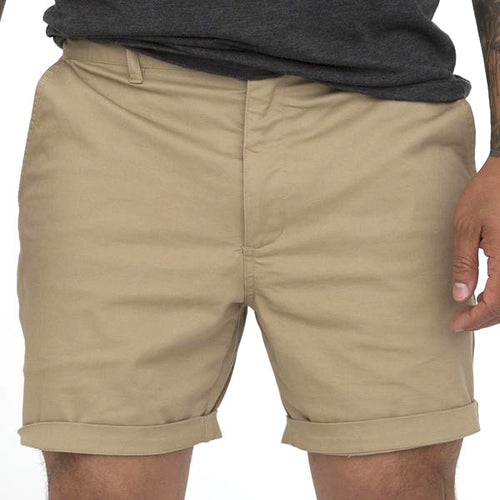 Khaki Cotton Stretch Twill Shorts - Made in USA