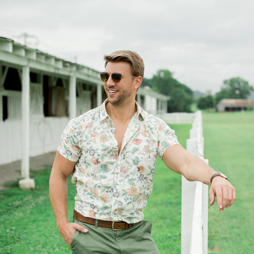 Cream Multi Colored Floral Print Short Sleeve Shirt - Kyle
