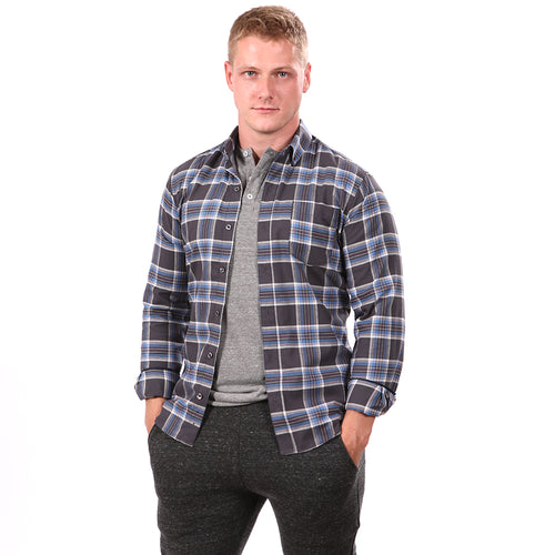 Charcoal Grey & Blue Brushed Cotton Plaid Shirt - 'Rudy'