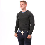 Charcoal Grey Marled Raglan Sleeve Crewneck Sweatshirt - Made in USA