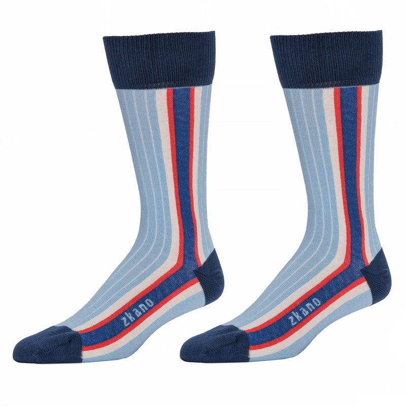 Pale Blue Side Stripe Socks