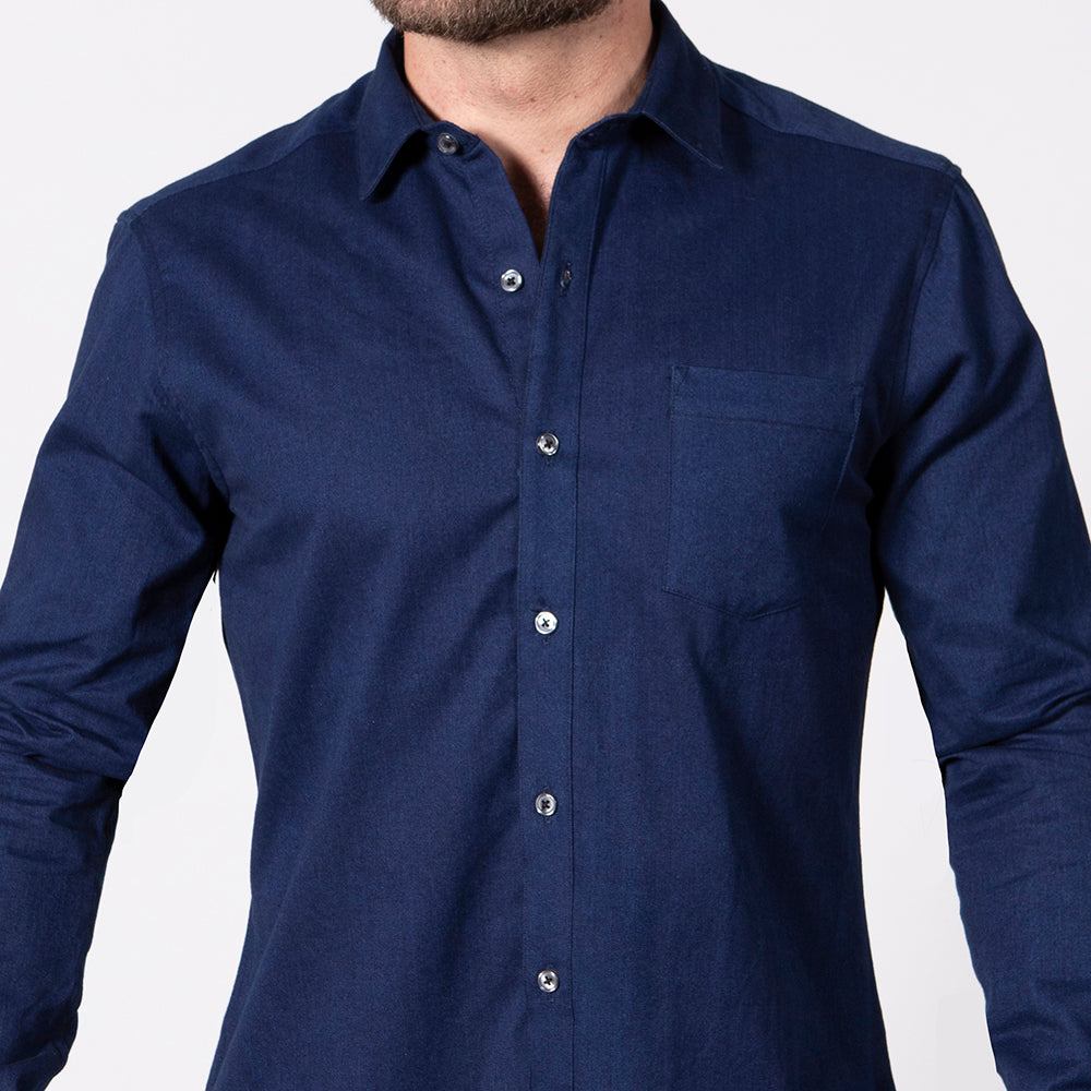 Solid Blue Denim Shirt - 'Jett'
