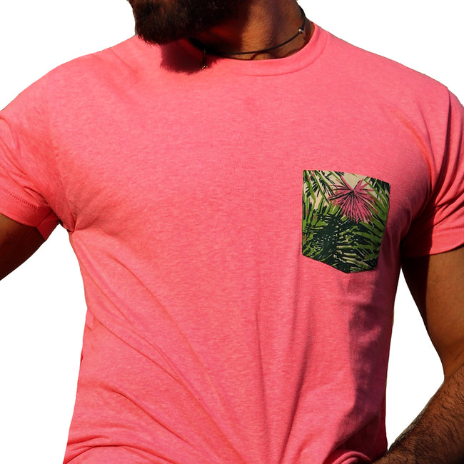 Hot Pink With Botanical Print Pocket Tee