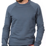 Organic Cotton Mineral Blue Raglan Sleeve Crewneck Sweatshirt - Made in USA