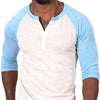 Oatmeal Heather & Light Blue Contrast 3/4 Raglan Sleeve Henley Size M Available
