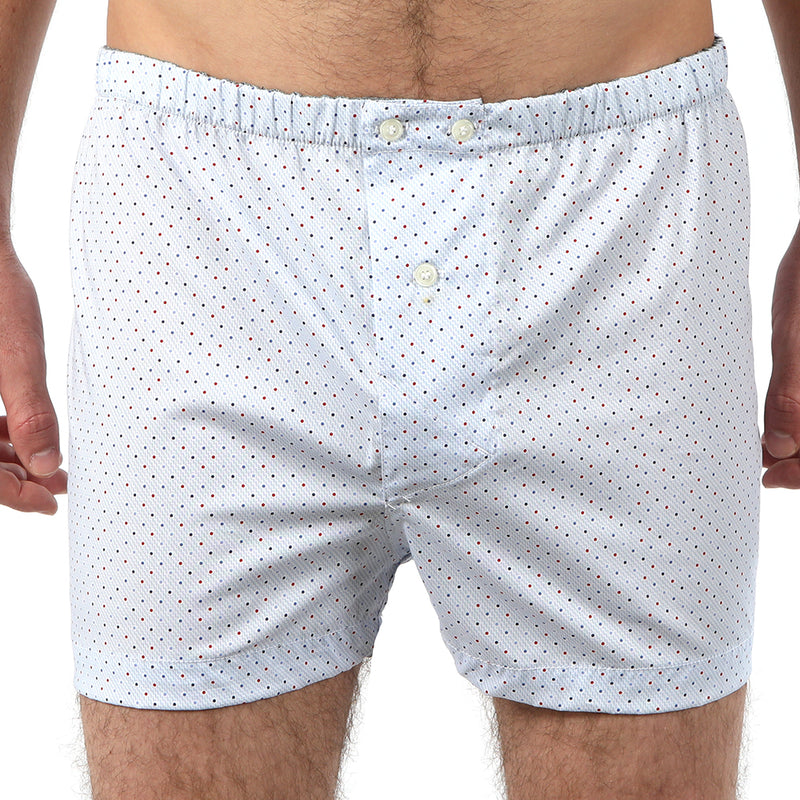Pale Blue With Red & Blue Print Boxer Short - Mac