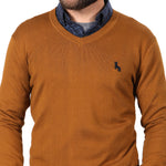 Camel Cotton V-Neck Sweater