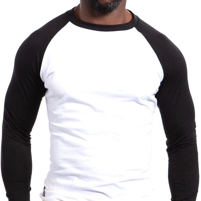Black & White Long Sleeve Raglan Baseball Tee