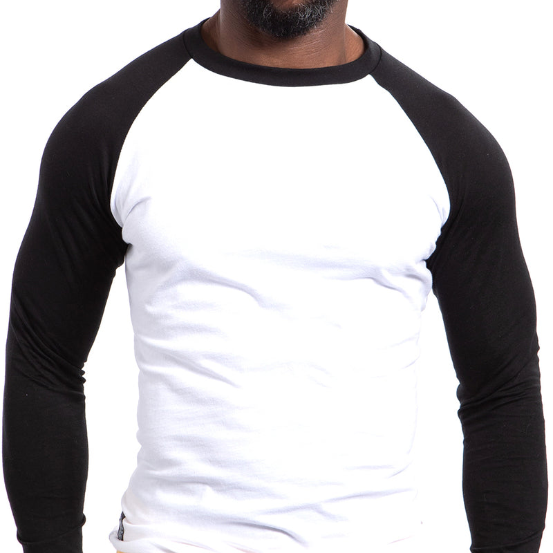 Black & White Long Sleeve Raglan Baseball Tee One Piece Sizes S & XXL Available