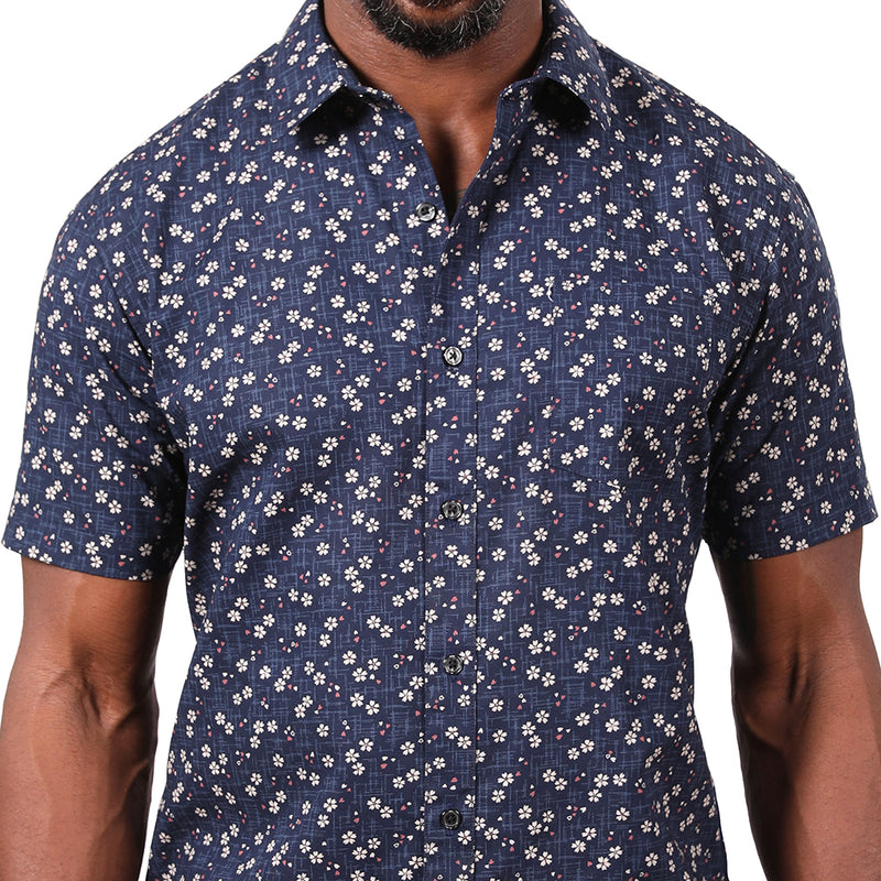 Navy Mini Japanese Traditional Floral Print Shirt - Jensen Sizes M & L Available