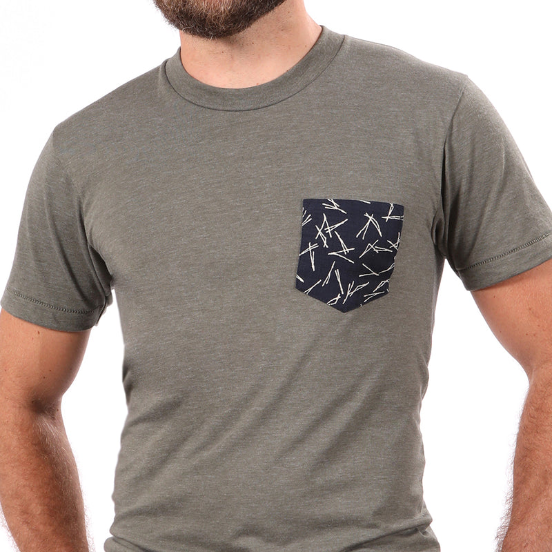 Olive Heather With Japanese Indigo Sticks Print Pocket Tee - Sizes L, XL & XXL Available