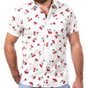 White With Red Cherry Print Short Sleeve Shirt - Hudson