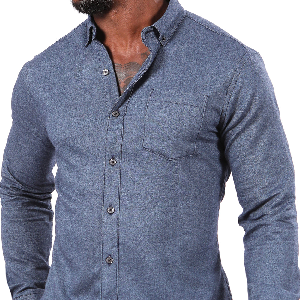 Indigo Blue Melange Flannel Shirt