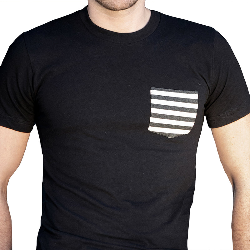 A Few Pieces Just Found! Black with Black & White Stripe Pocket Tee Sizes S & M Available