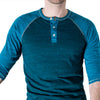 SALE THIS WEEKEND ONLY Turquoise & Aqua Blue Contrast 3/4 Raglan Sleeve Henley