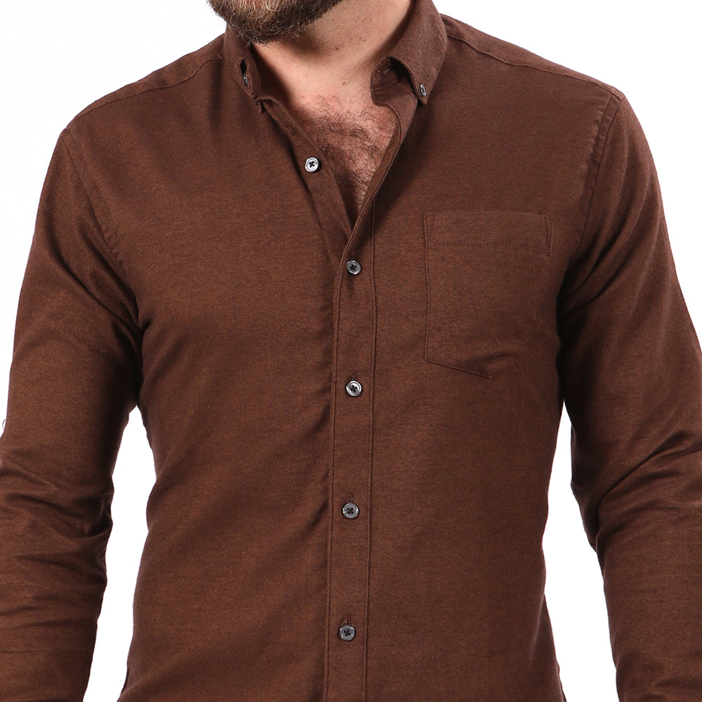 Chocolate Brown Melange Flannel Shirt Shirt