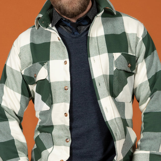 Olive Green & Cream Buffalo Check Shirt Jacket